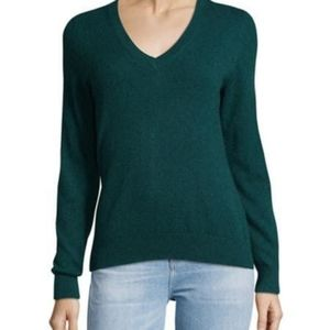 Lord & Taylor Dark Teal Cashmere V Neck Sweater XS